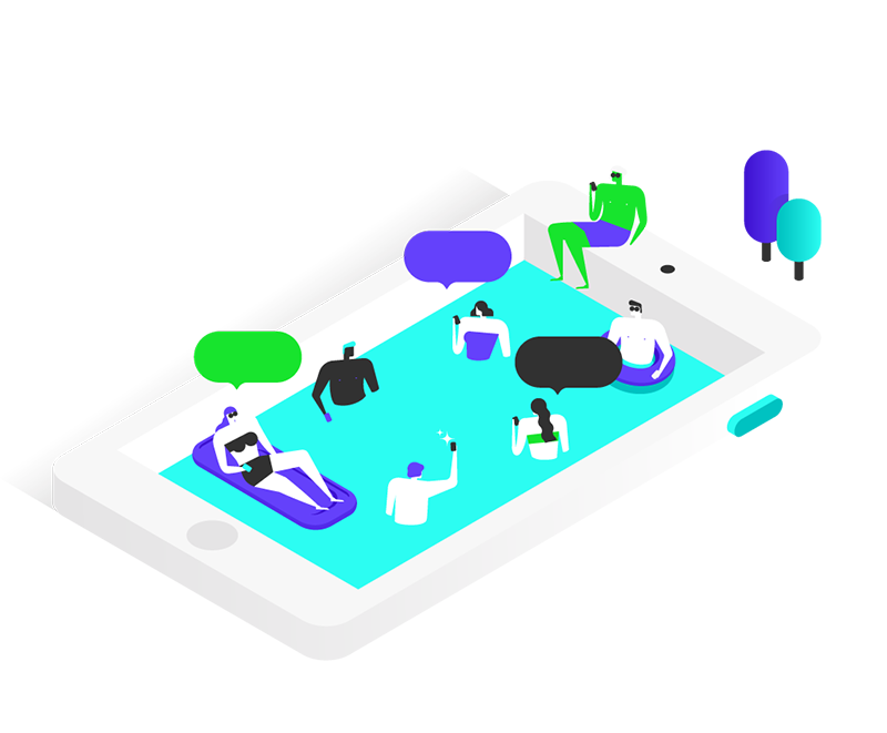 Illustration representing people on a pool