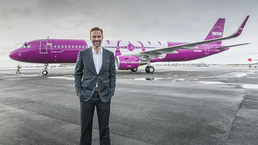 Photo of WOW air plane and founder.